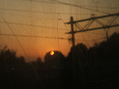 sunset through train window