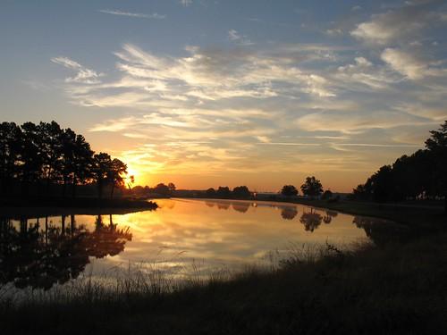 sunrise landscape lakes scenic