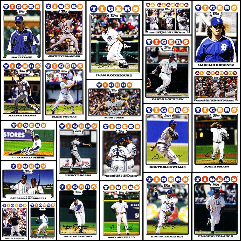 2008 Topps Detroit Tigers Topps Baseball Cards Collage