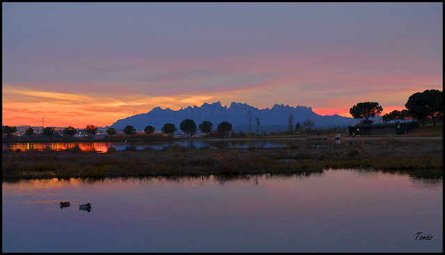 -Sunset with the mountain of Montserrat in the back-