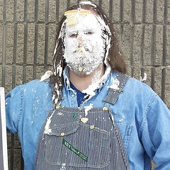 Funny how with a face full of pie, it's hard to see that I'm smiling. #newprofilepic #overalls #dungarees #biboveralls #vintage #key #keyoveralls #hickorystripe #denim #doubledenim #pieintheface #pietotheface #pieinface #pieface #splat