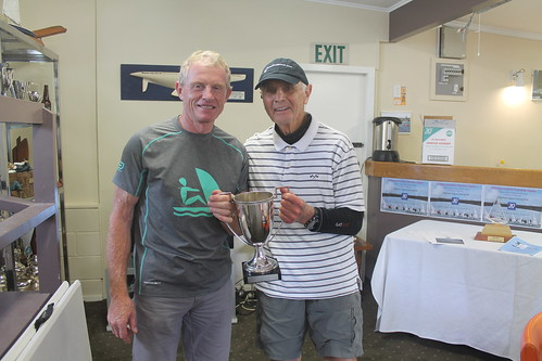 Marc MacIntosh winner of the King and Queen of the River Trophy with Jock Bilger, who donated the trophy