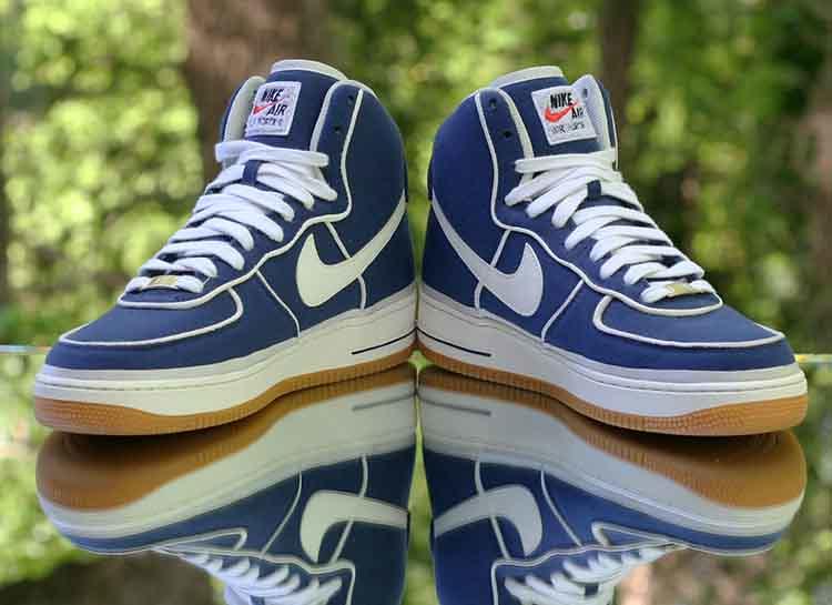separation shoes 2e6d1 bb2b5 ... Nike Air Force 1 High  07 LV8 Men s Binary Blue Sail Gum Canvas 806403-