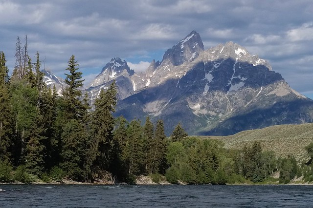 Float trip on the Snake River, view of Grand Teton