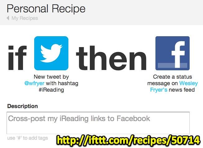 IFTTT: Cross-post iReading Links to Facebook | ifttt com/rec