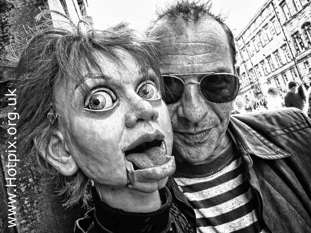 Edinburghshire,fringe2012,2012fringe,Edinburgh,Royal,Mile,High,st,Street,festival,tattoo,fringe,UK,Scotland,mono,b/w,ventiliquist,dummy,judcharlton,jud,charlton,performer,player,actor,portrait,tonysmithhotpix,tony,smith,tonysmith,HDR,mono HDR,bandw,extreme,scotia,ecosse,august,scenes,capital,@hotpixuk
