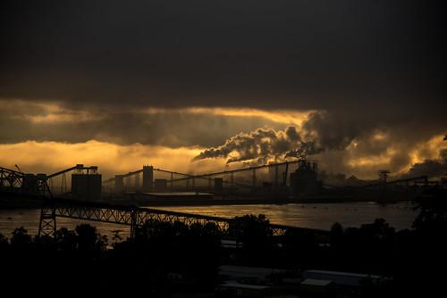 panorama industry fog oregon sunrise dawn industrial smoke bridges steam columbiariver factories