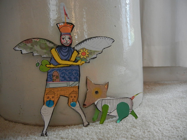 Paper Collage Doll and Dog