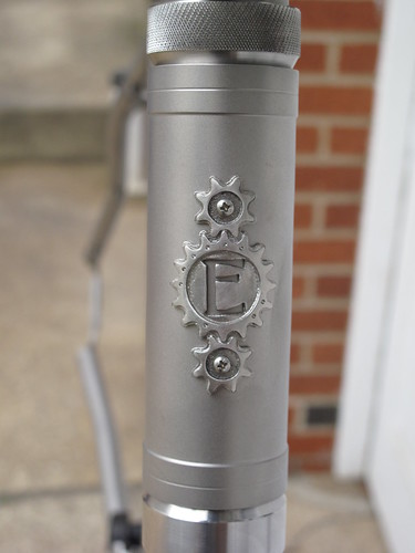 Stainless head badge on the Ti head tube