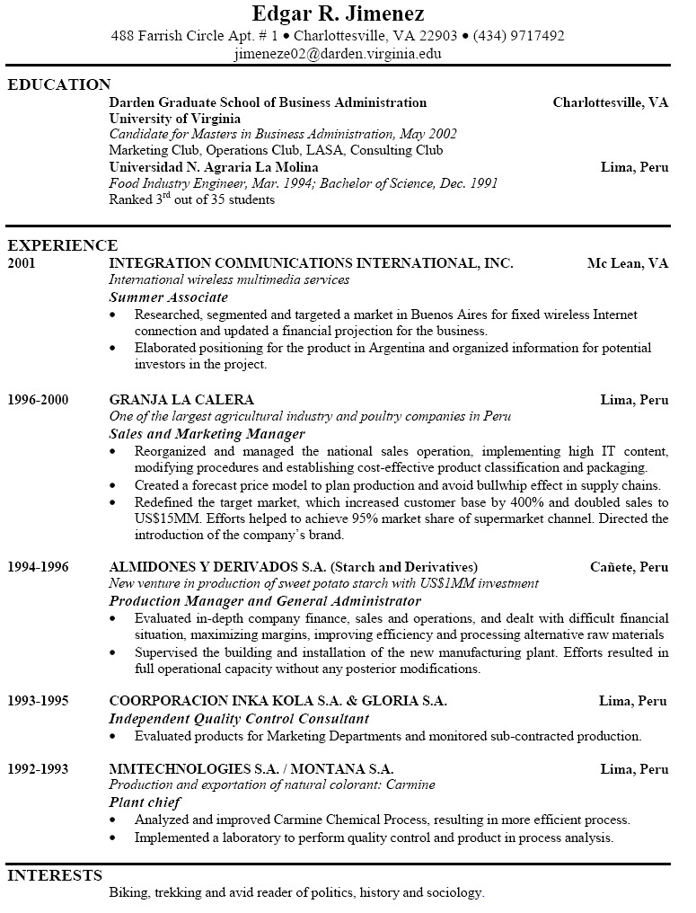 Resume Layout Examples | onebuckresume resume layout resume ...