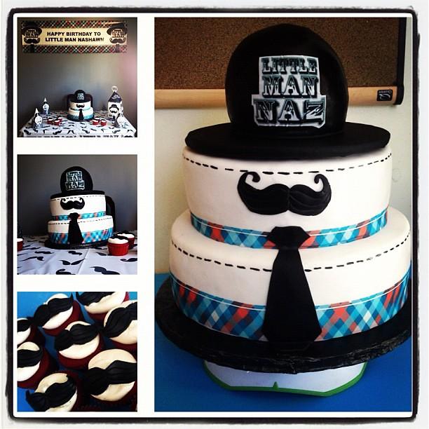 Strange Little Man Theme Birthday Cake With Mustache Yahairam Flickr Birthday Cards Printable Trancafe Filternl