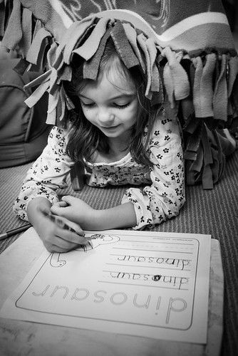Molly, practicing her mad writing skills. | by Fluttering By