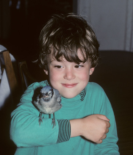 Tommy with baby Blue Jay