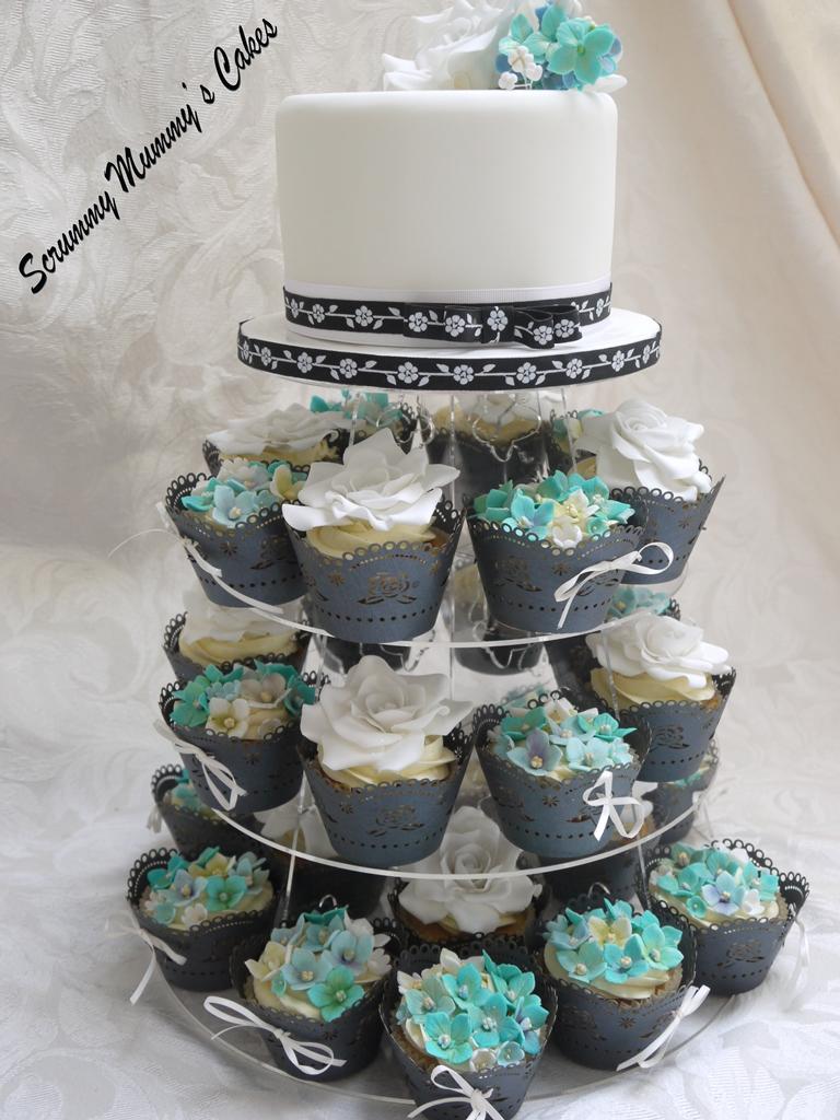 Aqua And White Wedding Cake And Cupcake Tower 9 Aqua And W Flickr
