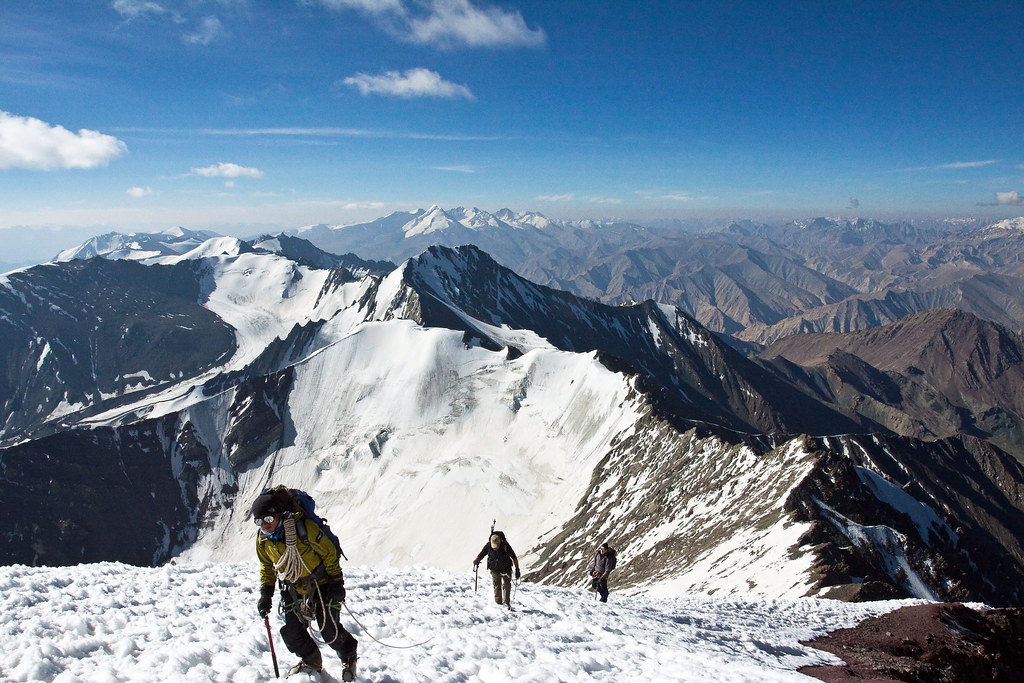 Arriving at Stok Kangri's summit