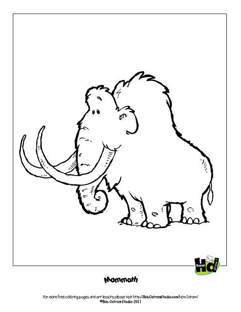 mammoth free coloring page