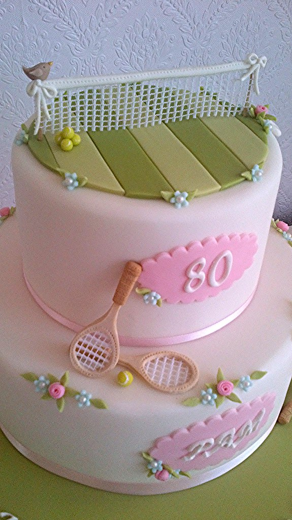 Sensational Tennis Cake 80Th Birthday Cake For Pamela Who Still Plays Flickr Funny Birthday Cards Online Alyptdamsfinfo