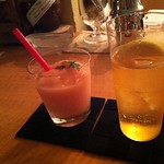 ジントニック(サフラン)と桃のフローズン