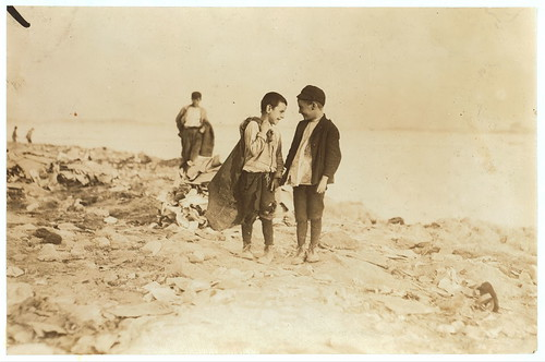 """Boys picking over garbage on """"the Dumps."""" Boston. See 906-907.  Location: Boston, Massachusetts. (LOC) 