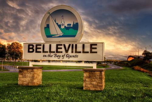 bridge trees sunset grass sign clouds landscape bay belleville quinte bayofquinte