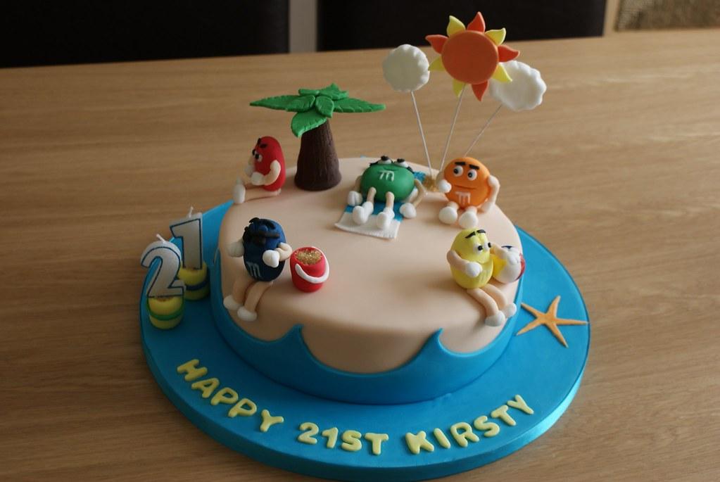 Admirable Mms Birthday Cake 21St Birthday Cake With Mms Figures En Flickr Birthday Cards Printable Giouspongecafe Filternl