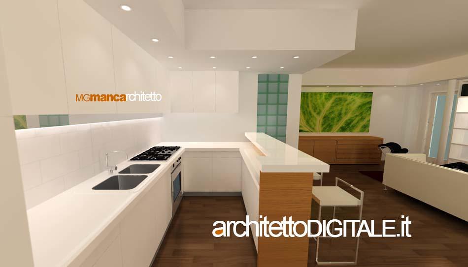 Progetto di interni di un appartamento di 75 mq vista 3d for Architetto per interni