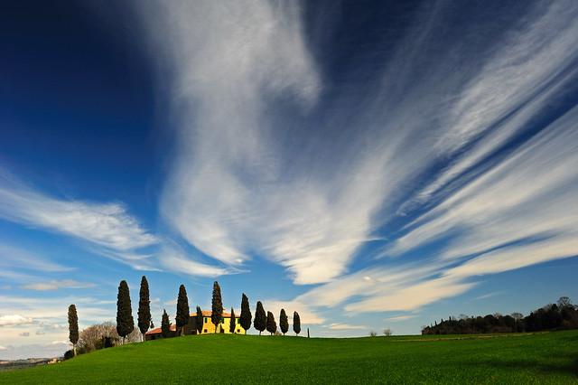 the sky above Pienza