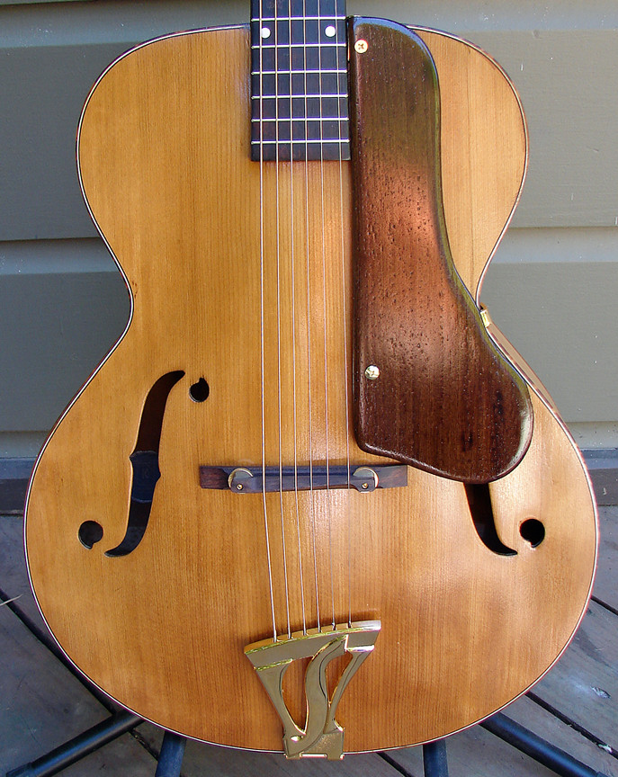 Kay Archtop - Body | The home-made bocote wood pickguard, ad