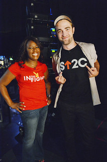 Robert Pattinson and Pam Cromwell at the Stand Up To Cancer event (Sept. 7) | by Elizabeth Finch