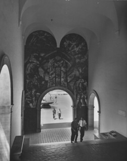 "Rico Lebrun's ""Genesis"" mural, painted above the Frary Dining Hall steps in 1960"