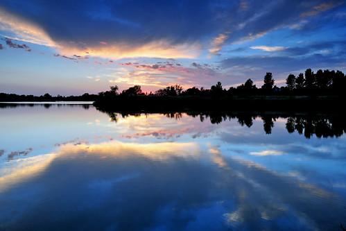 blue sunset reflections kansas wichita chisholmcreekpark