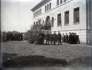 Ivy Day (1902) - Seniors gather in cap and gown in front of Pearsons Hall during commencement week