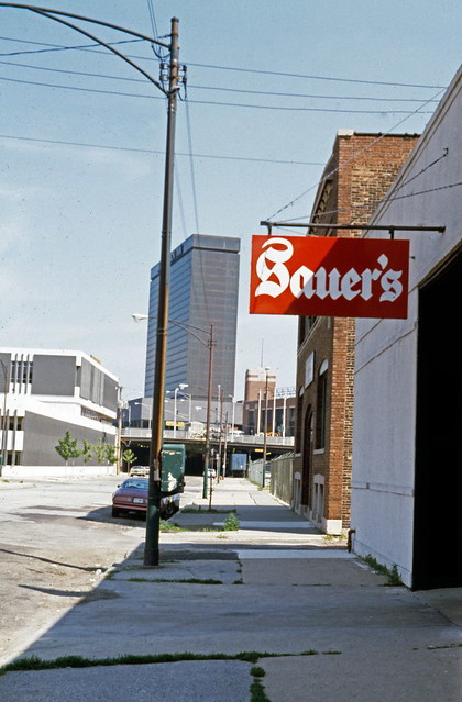 East 23rd Street with Sauer's Restaurant sign