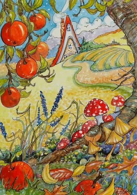 Autumn Colors Storybook Cottage series Autumn watercolor
