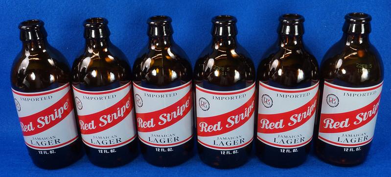 RD14201 6 Red Stripe 12 oz Brown Stubby Beer Bottles in Original 6 Pack Carton DSC05351