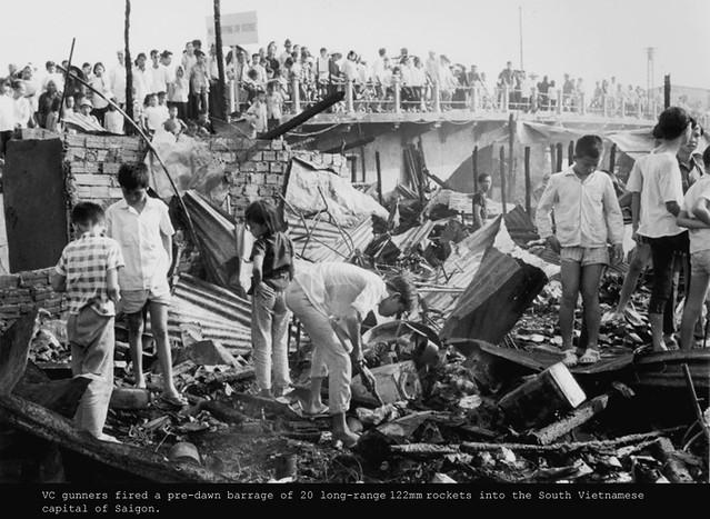 VC gunners fired a pre-dawn barrage of 20 long-range 122mm rockets into the South Vietnamese capital of Saigon