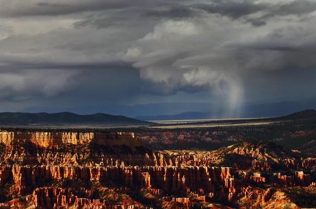 Sunset desert rain...