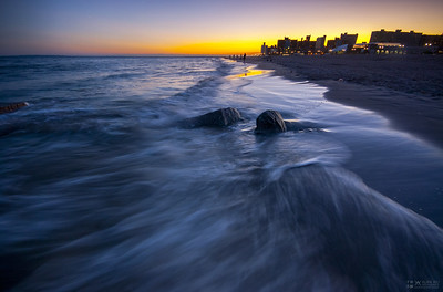 Coney Island Beach in sunset.