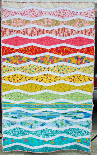 I've made a lot of quilts. This one makes me happier than most. There was something about this one that just felt right, start to finish.  There's a baby girl in Portland who will grow up with this as her quilt. It was started on the day she was born. Seems appropriate.  Quilt story is at domesticat.net/quilts/sea-and-sky