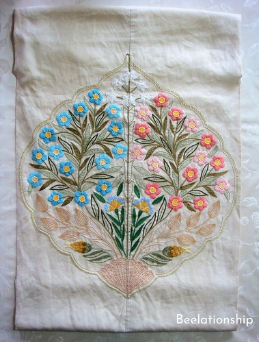 Pink and Blue Flowers Dust Cover | by Beelationship Embroidery Studio