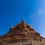 The qasr zaba'al stands on a tall rock spur overlooking the ancient village, Al-Jawf Province, Sakaka, Saudi Arabia