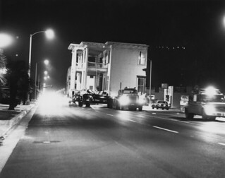 Half of Seaver House being moved on the freeway. The move from Pomona to Claremont took place over two nights in 1979