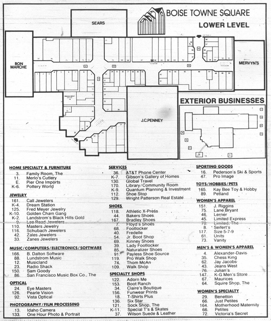 Boise Towne Square - 1988 Mall Directory (part 1) | This is ...