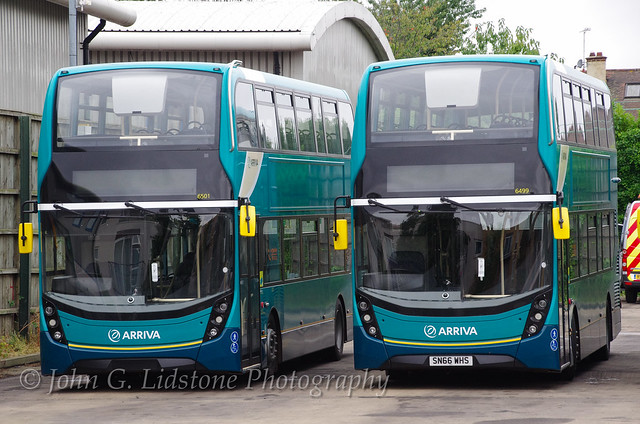 Brand new Arriva Kent Thameside (Southend) Alexander Dennis Enviro400 MMCs 6499, 6501, SN66 WHS/U just after delivery to Southend - the first new double-deckers for this fleet for 16 years