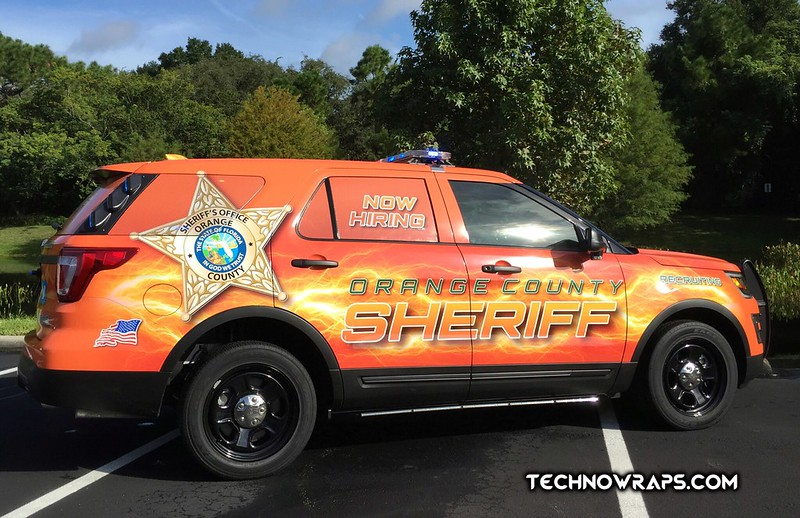 Police vehicle graphics by the vinyl wrappers at TechnoSigns in Orlando
