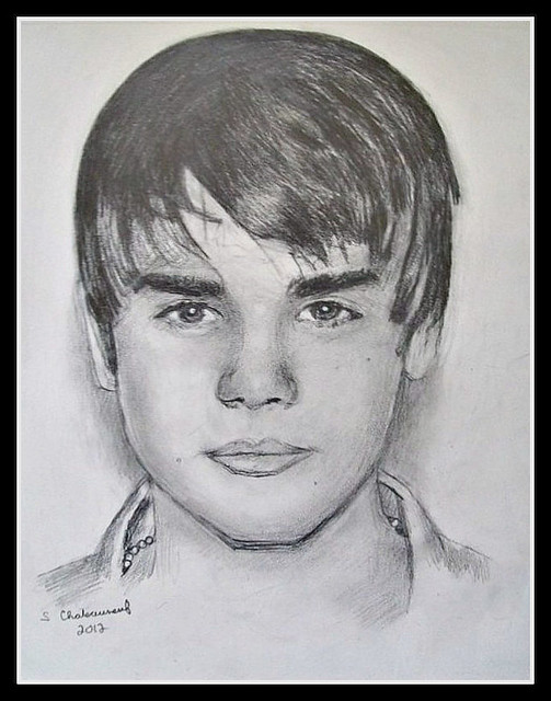 Justin Bieber - Pencil Drawing by STEVEN CHATEAUNEUF (2012) - Photo Of Drawing Also by STEVEN CHATEAUNEUF