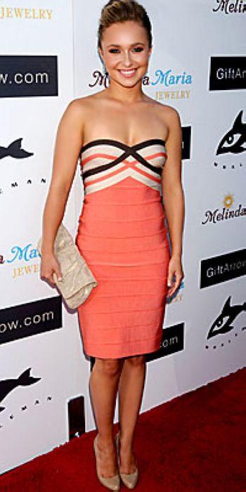 strapless hayden panettiere orange bandage dress