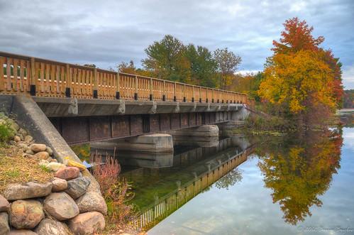 railroad bridge autumn trees fall colors mi reflections river rocks quiet calm falling trail waters kalamazoo concord mygearandme