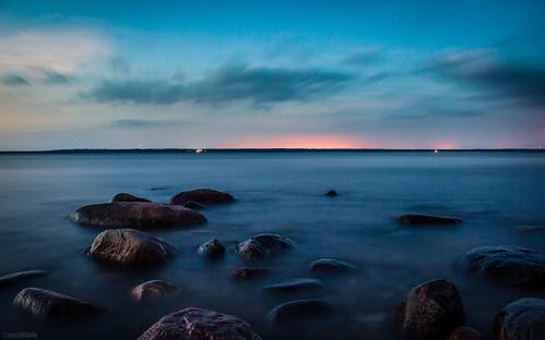 estonia baltic sea paldiski night sunset rocks water canon eos 600d