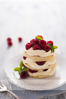 Grill made raspberries mille feuille